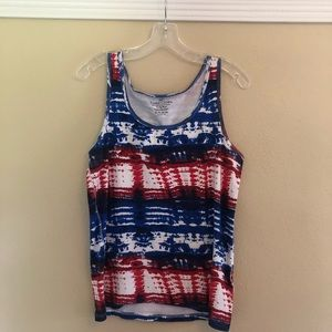 Red White and Blue Tie Dye Tank Top